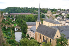 The medieval Luxembourg. The church St Jean-du-Grund in the old city of Luxembourg Stock Photos