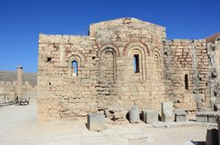 Church of St. John on the Acropolis of Lindos. Rhodes, Greece. Royalty Free Stock Photos