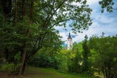 Church of St John the Baptist in Bohinj. Church of St John the Baptist in touristic village Ribcev laz by the Bohinj lake, Slovenia Royalty Free Stock Photos