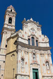 Church of St. John the Baptist in Cervo, overlooking the sea, Imperia Province. Cervo is a small, ancient town built on top of a hill along the Italian Riviera stock images