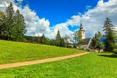 Church of St John the Baptist, near Bohinj Lake, Slovenia Stock Photos