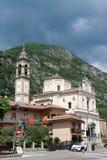 Church of St. John the Baptist in Predore, Italy. The Chiesa Arcipresbiteriale di San Giovanni Battista Archipresbyterial Church of St. John the Baptist in stock photos
