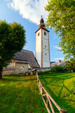 Church of St. John the Baptist in Ribchev Laz village. Bohinj Lake, Triglav national park Slovenia, Julian Alps, Europe Royalty Free Stock Photos