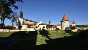 Church of St. John the Baptist & Town Walls, Bardejov, Slovakia stock photo