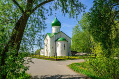 Church of St. John the Evangelist on Vitka river. Veliky Novgorod Royalty Free Stock Image