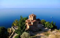Church of St. John at Kaneo. Church St. John/Jovan Kaneo at the top of the hill in Ohrid lake, Macedonia Stock Images