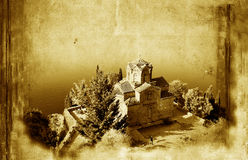 Church of St. John at Kaneo. And old paper grunge background Stock Images