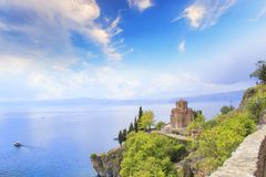 Church of St. John of Kanevo in Ohrid, Macedonia. On a sunny day Royalty Free Stock Images