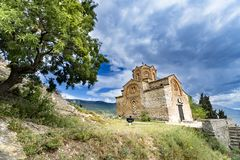 Church of St.Jovan Kaneo and Lake Ohrid, Macedonia stock image