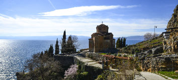 Church St. Jovan Kaneo, Lake Ohrid, macedonia stock photos