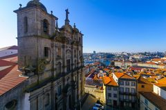 Church of St. Lawrence and the Douro river, Porto. View of the Church of St. Lawrence, the Douro river, and the old center of Porto, Portugal royalty free stock images