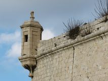Church Of St. Lawrence. Malta. Valetta. Elements of the fortress wall on the embankment of Malta. The city was built of stone many years ago Stock Image