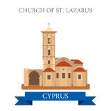 Church St Lazarus Larnaca Cyprus flat vector attraction sight. Church of St Lazarus in Larnaca Cyprus. Flat cartoon style historic sight showplace attraction web Stock Photo