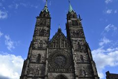 Church of St. Lorenz. Main cathedral in the central square of Nuremberg Royalty Free Stock Photo