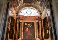 The Church of St. Louis of the French in Rome. Interior of the Church of St. Louis of the French. The church's most famous item is the cycle of paintings in the Royalty Free Stock Photos