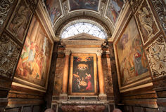 The Church of St. Louis of the French in Rome. Interior of the Church of St. Louis of the French. The church's most famous item is the cycle of paintings in the Royalty Free Stock Image