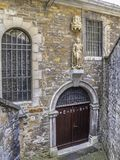 Church of St. Lucia or St. Lucy entrance, Stolberg, Rhineland, Germany stock photography