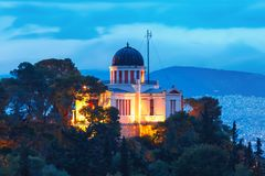 Church of St Marina in Thissio in Athens, Greece. Aerial view of the Church of St Marina in Thissio during evening blue hour in Athens, Greece Stock Photos