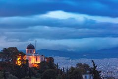 Church of St Marina in Thissio in Athens, Greece. Aerial view of the Church of St Marina in Thissio during evening blue hour in Athens, Greece Stock Photography
