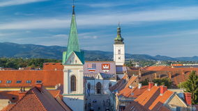 Church of St. Mark timelapse and parliament building Zagreb, Croatia. Top view from Kula Lotrscak tower stock footage