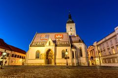 Church of St Mark in Zagreb. Church of St Mark on the square with same name in Zagreb. Part of Zagreb where is Croatian Parliament and Government building placed Stock Image