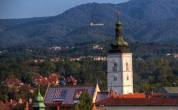 Church St Marko. Church st. Marko in Zagreb, Croatia with old town Medvedgrad in background Royalty Free Stock Images
