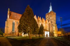 Church of St Mary in Chelmno at night. Poland Stock Images