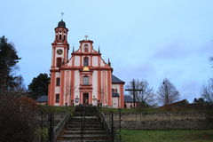 Church of St. Mary Magdalene. In Marenice (Czech Republic) on sunset royalty free stock photo