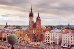 Church of St. Mary in the main Market Square. Krakow. Stock Photography