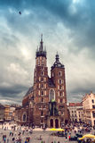 Church of St. Mary in the main Market Square. Krakow. Stock Image