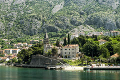 Church of St.Matthew  And Church of St. Eustache in the city of. Dobrota in Kotor Bay in sunrise. Montenegro Royalty Free Stock Image