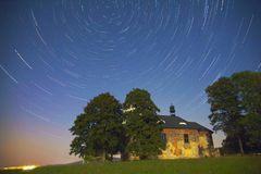 Perseids - Church of St. Matthew. Church of St. Matthew at night with Perseids Stock Photography