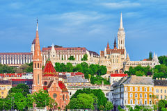 Church of St. Matthias, Fisherman's Bastion,Calvinist Church sho Royalty Free Stock Photography
