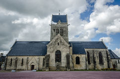 Church in St. Mere Eglise, Normandy. Paratrooper on church WO2 Royalty Free Stock Photography