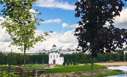 The Church of St.Michael the Grand Prince of Tver, who is known as heavenly patron of city of Tver, Russia, Tver. Summer landscape evokes admiration by cheerful Royalty Free Stock Image