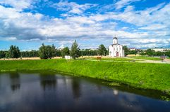The Church of St.Michael the Grand Prince of Tver, who is known as heavenly patron of city of Tver, Russia, Tver. Summer landscape evokes admiration by cheerful Stock Photo