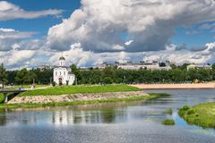 The Church of St.Michael the Grand Prince of Tver, who is known as heavenly patron of city of Tver, Russia, Tver. Summer landscape evokes admiration by cheerful Royalty Free Stock Photo