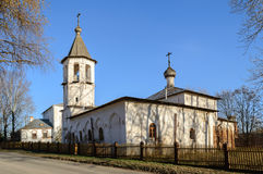Church of St. Michael Malein on Mihailov Street and the Church of the Nativity of the Virgin on Mihalitsa street in Veliky Novgoro Stock Photos
