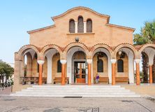 Church of St. Nektarios with a bell tower. Faliraki Royalty Free Stock Photography