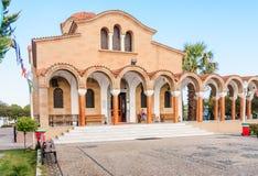 Church of St. Nektarios with a bell tower. Faliraki. Rhodes Stock Photos