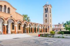 Church of St. Nektarios with a bell tower. Faliraki Royalty Free Stock Photo