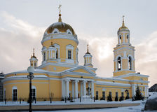 Church of St. Nicholas in Ekaterinburg, Russia. Side view. Yellow Church of St. Nicholas in Ekaterinburg, Russia. Side view in winter day Royalty Free Stock Image