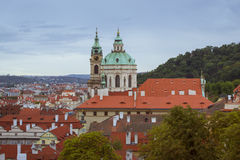 Church of St. Nicholas - Kostel svateho Mikulase na Male Strane, Prague. PRAGUE, CZECH REPUBLIC - AUGUST 25, 2015: Panorama of the Church of St. Nicholas (Kostel Royalty Free Stock Photos