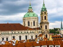 Church of St Nicholas in Lesser Town or old town of Prague in the Czech Republic. The Church of Saint Nicholas is a Baroque church in the Lesser Town of Prague stock image