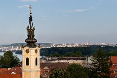 Panoramic view on the Zemun, Serbia with church of St.Nicholas stock images