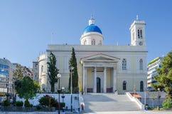 The church of St.Nicholas. In Port of Piraeus, the largest marine based shipping centre of Greece. Dedicated to Saint Nikolaos, the patron saint of seamen, it stock photos