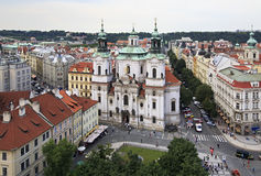 Church of St. Nicholas in Prague. View from the Old Town Hall Royalty Free Stock Photo