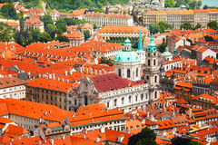 Church of St. Nicholas with red roofs houses view Stock Photo