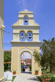 Church of St.Nicholas in Sidari. View of Bell Tower in Church of St.Nicholas at the Village Square on a sunny day on May 24, 2017 in Sidari, Corfu island in Stock Photography