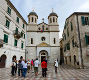 The church of St. Nicholas on Square of Old Town, Kotor, Montene Royalty Free Stock Images